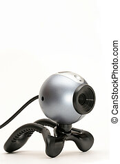 webcam with usb cable, closeup over white and limited depth of field