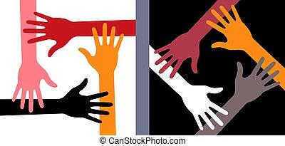 WebColorful Four Hands Icon Set. Volunteer emblem. Vector Illustration