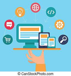 webdesign, ベクトル, プログラミング, サービス