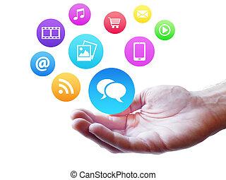 webdesign, 社会, 媒介, 同时,, 因特网, 概念