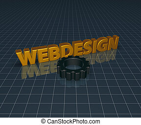 webdesign and gear wheel - 3d rendering