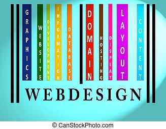 webdesign, barcode, słowo, barwny