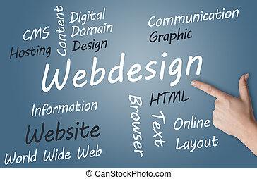 Webdesign wordcloud concept illustration on blue-grey background