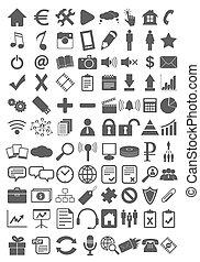 webdesign, ensemble, plat, icônes