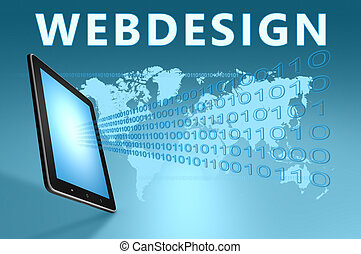 Webdesign illustration with tablet computer on blue background
