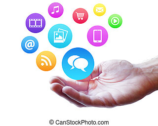 Webdesign and Internet concept with colorful social media and web icon fluttering on a man hand isolated on white background.