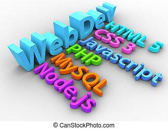 webentwicklung, werkzeuge, für, html, standort