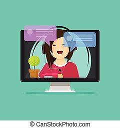webinar, 話し, コンピュータ, ビデオ, オペレーター, 女の子, ヘッドホン, サポート, 相談, 呼出し, オンラインで, 平ら, 援助, ディスプレイ, インターネット, 考え, インターネット, 談笑する, 漫画, 距離, ∥あるいは∥, 勉強