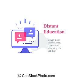 webinar, 遠い, 講義, 教育, 概念, グループ, コース, 会議, インターネット, オンラインで, ビデオ