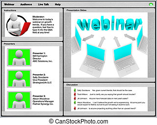 webinar, -, 견본, 스크린 발사