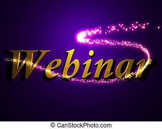 Webinar 3d inscription with luminous line with spark on...
