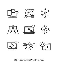 Webinar and communication vector linear icons