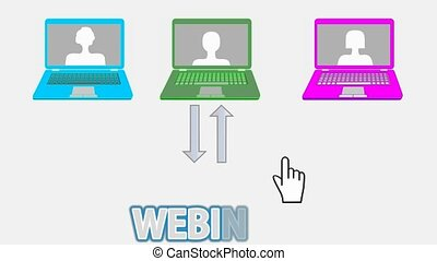 Webinar animated banner with multicolored laptops, arrows,...