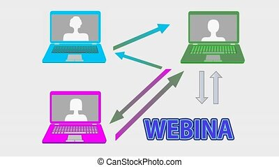 Webinar banner animation with multicolored laptops, arrows,...