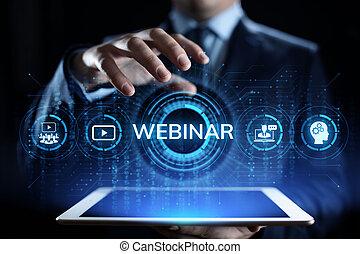 webinar, concept., ビジネス, e 勉強, セミナー, オンラインの教育