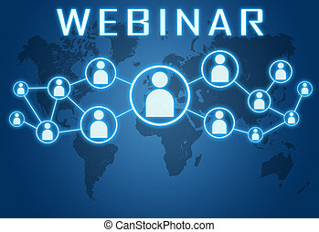 Webinar concept on blue background with world map and social icons.