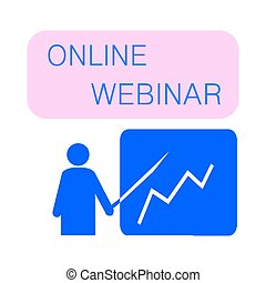 Webinar concept, online course, distant education, vector icon.
