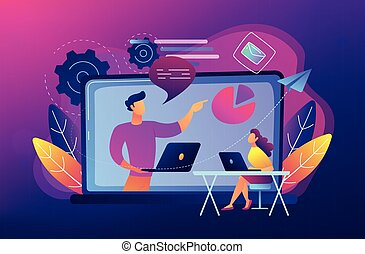 Student with laptop and lector at the LCD screen. Webinar, web seminars, webcasts, and peer-level web meetings. Modern education and sessions concept. Vector illustration on ultraviolet background.