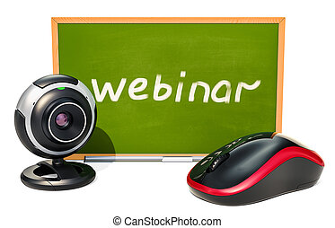 Webinar concept with blackboard, computer mouse and webcam. 3D rendering