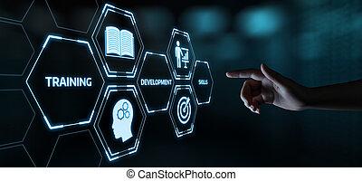 webinar, e- aprendizaje, empresa / negocio, internet, entrenamiento, habilidades, concepto, tecnología