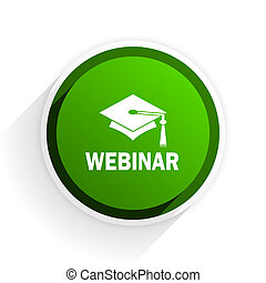 webinar flat icon with shadow on white background, green modern design web element
