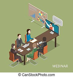 Webinar Flat Isometric Vector Concept. People In Office at Table Listen Online Presentation.