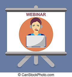 Icon of a Woman with laptop and headphones and the text webinar