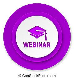 webinar icon, violet button