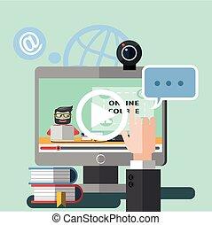 webinar, internet, apartamento, cor, caricatura