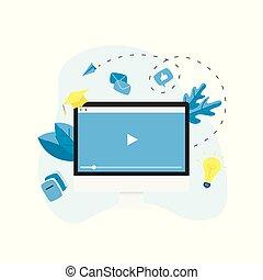 Webinar, internet conference, web based seminar, online education, e-learning flat design concept
