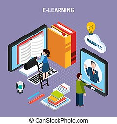 Webinar isometric colored composition with abstract situation where people learn via the Internet vector illustration