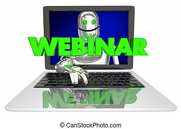 Webinar Laptop Computer Robot Teacher Class 3d Illustration