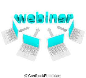 Several laptops connected with arrows to the word Webinar