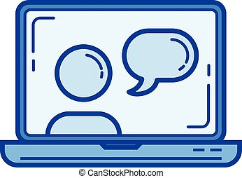 Webinar line icon.