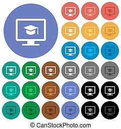 Webinar on monitor round flat multi colored icons - Webinar...
