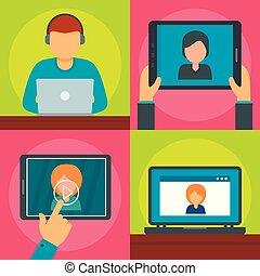 Webinar training online banner concept set. Flat illustration of 4 webinar training online vector banner horizontal concepts for web