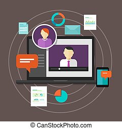 webinar online training education concept vector distance learning e-learning
