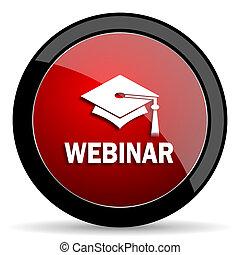 webinar red circle glossy web icon on white background - set440