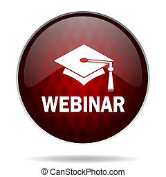 webinar red glossy web icon on white background
