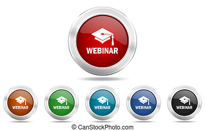 webinar round glossy icon set, colored circle metallic design internet buttons