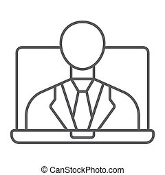 Webinar thin line icon, e learning and education, business training sign vector graphics, a linear pattern on a white background, eps 10.