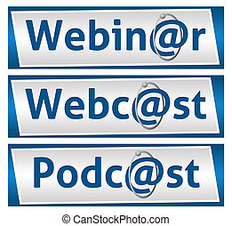 webinar, webcast, そして, podcast, 青, bl