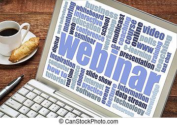 webinar word cloud on laptop