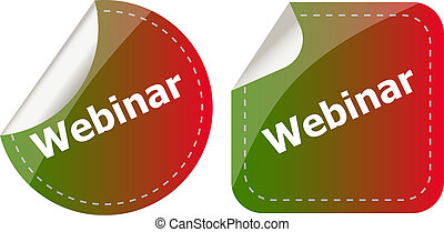 webinar word on stickers button set, label, business concept