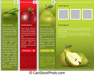 webpage, świeży owoc, szablon, themed