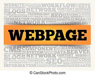 webpage, concetto, parola, nuvola, fondo