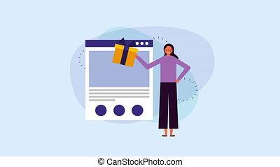 webpage, femme affaires, gabarit, jeune