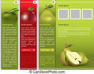 webpage, frutta fresca, sagoma, themed