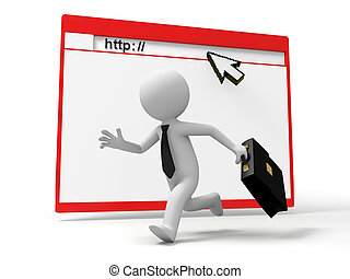 Webpage - http,mouse,sun,a businessman running ,a web nearby