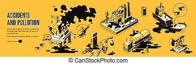 webpage, isometric, vetorial, desastres, technogenic